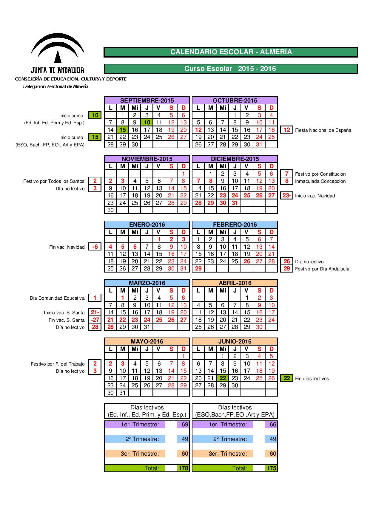 Calendario Escolar 2020 19 Almeria.Calendario Escolar Almeria Watershowspeakers