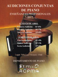Audiciones conjuntas de Enseñanzas Profesionales de Piano 2017 @ Sala Luis Gázquez - Real Conservatorio Profesional de Música de Almería