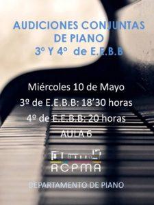 Audiciones conjuntas de 3º y 4º de EB de Piano 2017 @ Real Conservatorio Profesional de Música de Almería