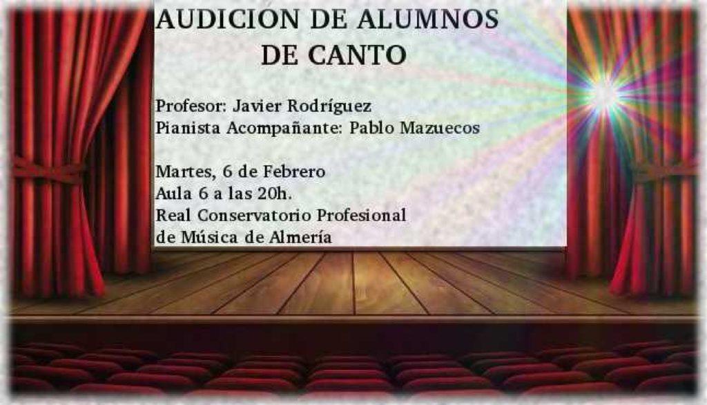 Audición de Canto de alumnos de Javier Rodríguez Jurado