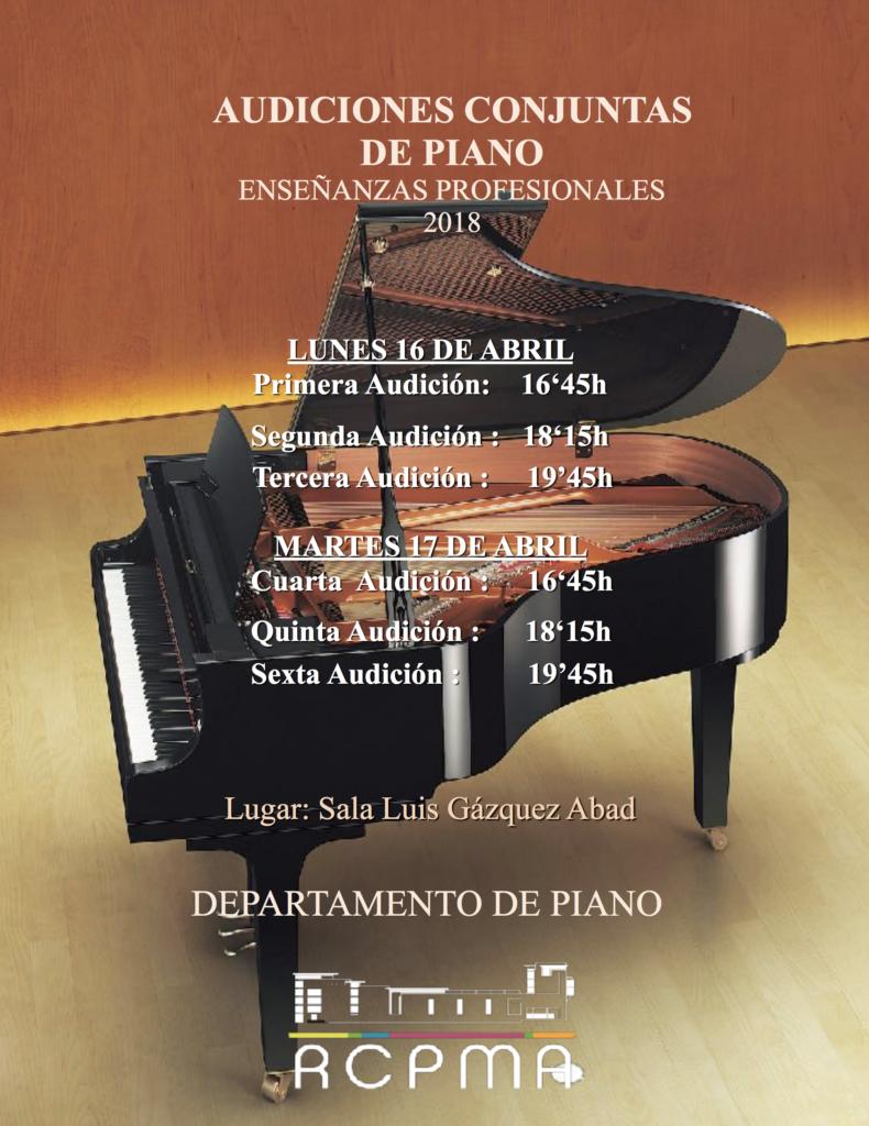 Audiciones conjuntas de EP de Piano @ Sala Luis Gázquez del RCPMA