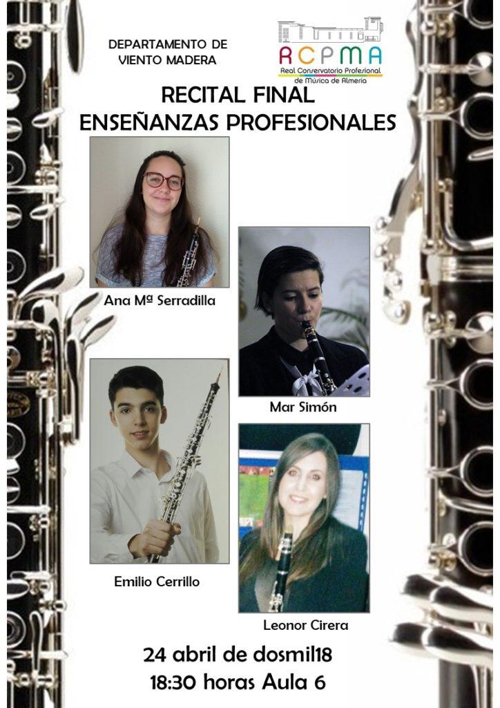 1er Concierto de Graduación del Departamento de Viento Madera @ Aula 6 del Conservatorio de Almería